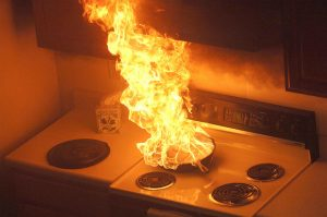 catch fire in the kitchen